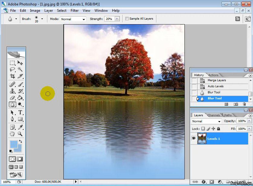 Фотошоп рисовать отражение